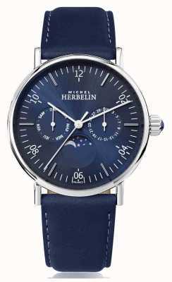 Michel Herbelin Montre inspiration pulseira de couro azul marinho em fase de lua 12747/AP15BL