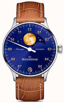 MeisterSinger Lunascope | mostrador azul | pulseira de couro marrom LS908G