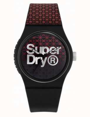 Superdry Esporte geo urbano | pulseira de silicone preto / vermelho | mostrador preto / vermelho SYG268R