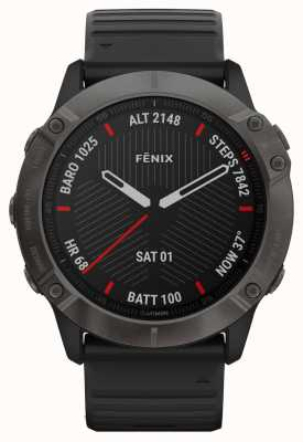 Garmin Fenix 6x pro safira | dlc cinza carbono | pulseira de borracha preta 010-02157-11