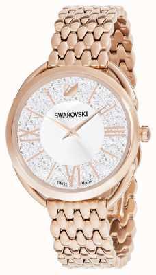 Swarovski | glamour cristalino | pulseira banhada a ouro rosa | mostrador prateado 5452465