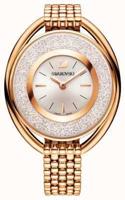 Swarovski | cristalino | oval | pulseira banhada a ouro rosa | mostrador branco 5200341