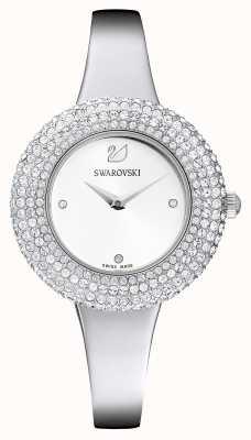 Swarovski | rosa de cristal | pulseira de aço inoxidável | mostrador branco | 5483853