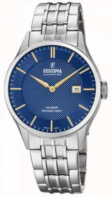 Festina   suíços para homem   pulseira de aço inoxidável   mostrador azul   F20005/3