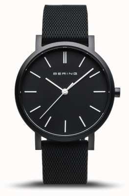 Bering | verdadeira aurora | pulseira de borracha preta | mostrador preto | 16934-499