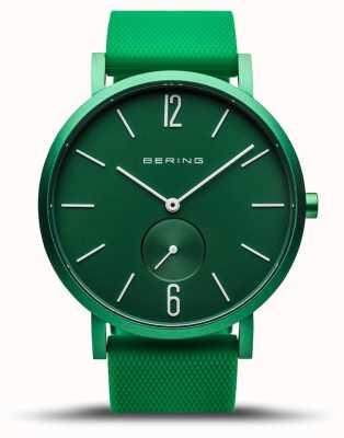 Bering | verdadeira aurora | pulseira de borracha verde | mostrador verde | 16940-899