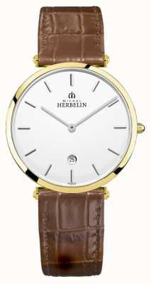 Michel Herbelin | epsilon masculino | pulseira de couro marrom | mostrador prateado | 19406/P11GO