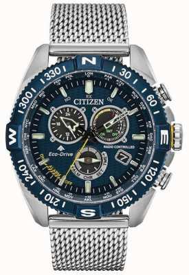 Citizen Navihawk masculino e relógio com mostrador promaster de aço inoxidável azul CB5846-52L
