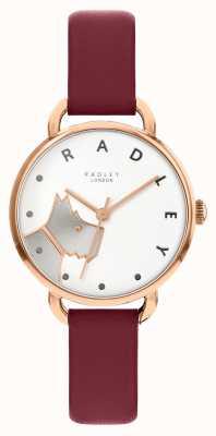 Radley | rua de madeira para mulher | pulseira de couro merlot | mostrador branco para cães RY2874