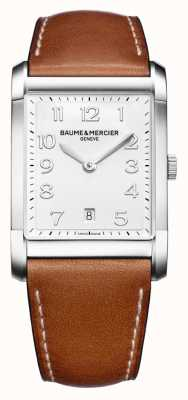 Baume & Mercier Mens hampton | pulseira de couro marrom | mostrador branco BM0A10153