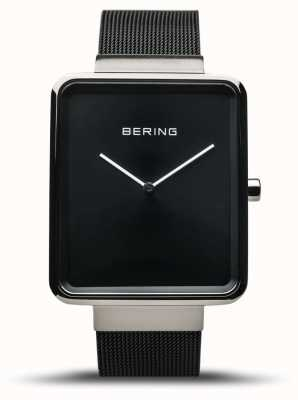 Bering | clássico masculino | pulseira de malha preta | mostrador preto | 14533-102