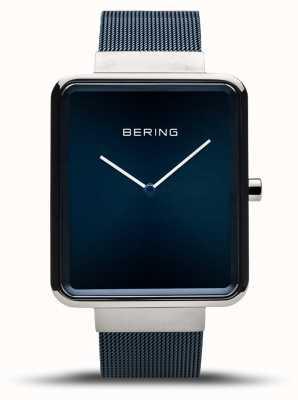 Bering | clássico masculino | pulseira de malha azul | mostrador azul | 14533-307