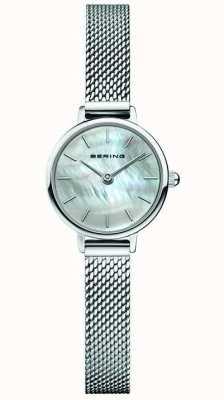 Bering | clássico feminino | pulseira de malha de aço | madrepérola 11022-004