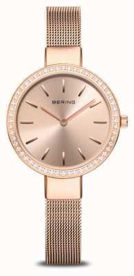 Bering | clássico feminino | malha de ouro rosa | moldura de cristal 16831-366