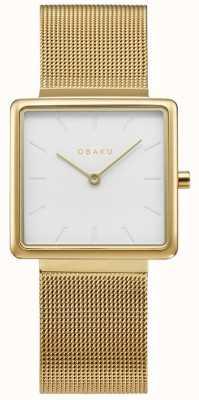 Obaku | ouro kvadrat feminino | pulseira de malha de ouro | mostrador branco | V236LXGIMG