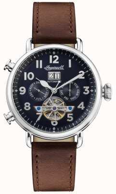 Ingersoll | a musa automática | pulseira de couro marrom | mostrador azul | I09503