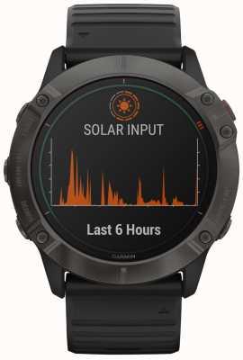 Garmin Fenix 6x titânio solar pro   dlc cinza carbono   cinta preta 010-02157-21