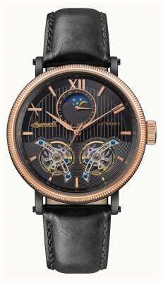 Ingersoll | o hollywood automático | pulseira de couro preto | mostrador preto I09601