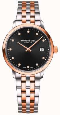 Raymond Weil | tocata feminina | pulseira em dois tons | conjunto de diamante negro 5985-SP5-20081
