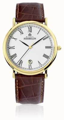 Michel Herbelin Clássico dos homens | pulseira de couro marrom 12248/P01MA