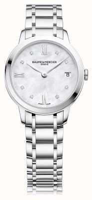 Baume & Mercier Diamante Classima | pulseira de aço inoxidável madrepérola M0A10326