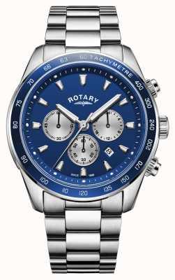 Rotary | henley para homem | mostrador cronógrafo azul | aço inoxidável GB05109/05