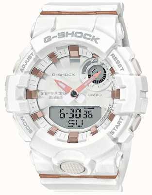 Casio | esquadrão g-choque | pulseira de borracha branca | bluetooth inteligente | GMA-B800-7AER