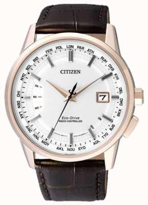 Citizen Rádio controlado perpétuo | cinta marrom | mostrador branco CB0153-21A