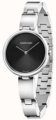 Calvin Klein | pulseira de aço inoxidável para mulher | mostrador preto | K9U23141
