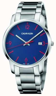 Calvin Klein Cidade dos homens | pulseira de aço inoxidável | mostrador azul K2G2G147