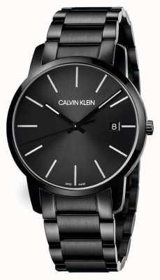 Calvin Klein | cidade dos homens | pulseira de aço inoxidável preto | mostrador preto | K2G2G4B1