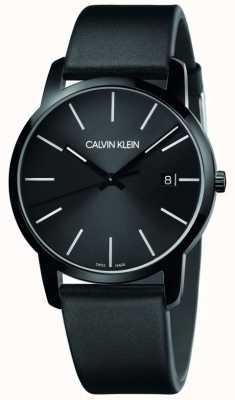 Calvin Klein | cidade dos homens | pulseira de couro preto | mostrador preto | K2G2G4CX