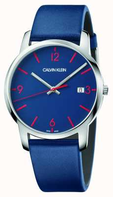 Calvin Klein | cidade dos homens | pulseira de couro azul | mostrador azul | K2G2G1VX