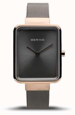 Bering Clássico das mulheres | malha cinza polida | mostrador cinza 14528-369