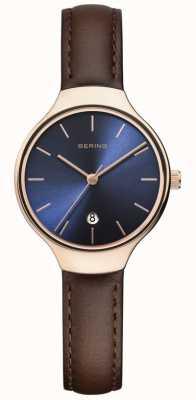 Bering | clássico feminino | pulseira de couro marrom | mostrador azul | 13328-567