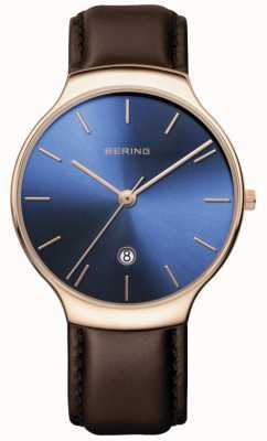 Bering | clássico feminino | pulseira de couro marrom | mostrador azul | 13338-567
