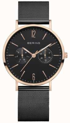 Bering Clássico das mulheres | pulseira de malha preta | mostrador preto | 14236-163