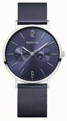 Bering | clássico feminino | pulseira de malha azul | mostrador azul | 14236-303
