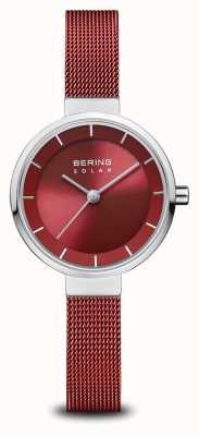 Bering Solar | prata polida | pulseira de malha vermelha | mostrador vermelho | 14627-303