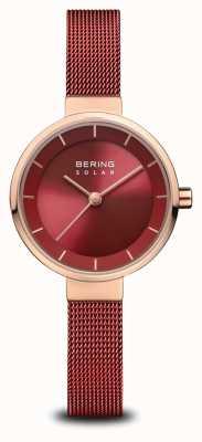 Bering | solar para mulheres | ouro rosa polido | malha vermelha | mostrador vermelho | 14627-363