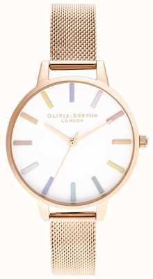 Olivia Burton   mulheres   arco-íris   pulseira de malha de ouro rosa   OB16RB24