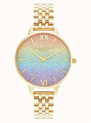Olivia Burton | arco-íris glitter dial | pulseira de ouro | OB16RB23