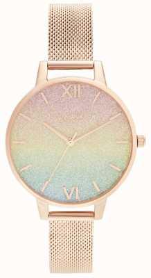 Olivia Burton Arco-íris glitter dial & rosa malha de ouro OB16RB18