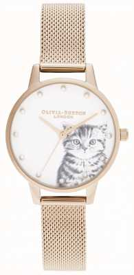 Olivia Burton Gatinho ilustrado perolado malha de ouro rosa OB16WL88