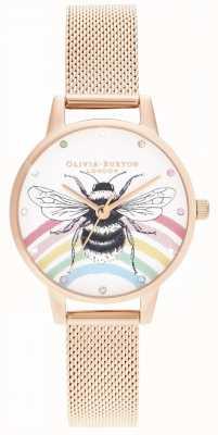 Olivia Burton Abelha de arco-íris ilustrada, malha de ouro rosa OB16WL90
