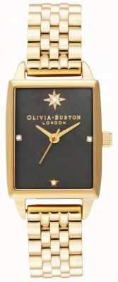 Olivia Burton | falso celeste | mostrador preto madrepérola | pulseira de ouro OB16GD60