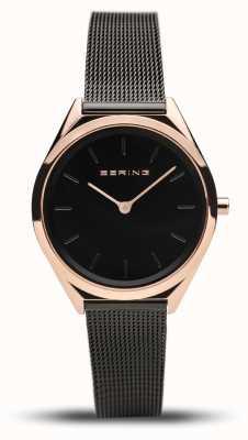 Bering   unissex   ultrafino   pulseira de malha preta   17031-166