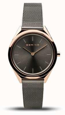 Bering | unissex | ultrafino | pulseira de malha cinza | 17031-369