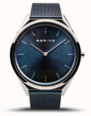 Bering | unissex | ultrafino | pulseira de malha azul | 17039-307