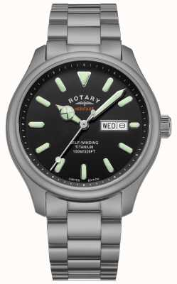 Rotary Henley masculino | pulseira de titânio | mostrador preto | GB05249/04